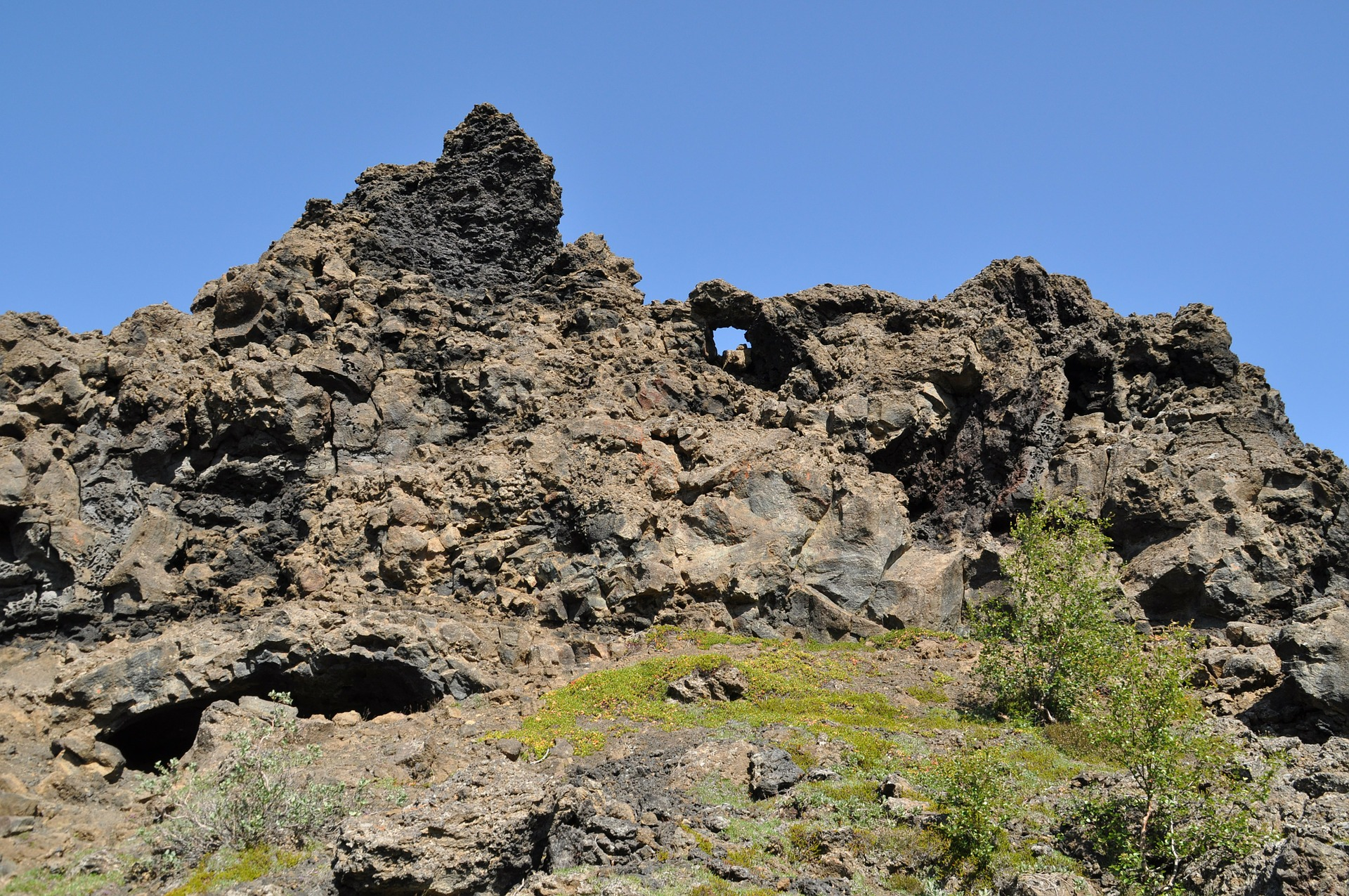 Rock formation at Dimmuborgir in Iceland