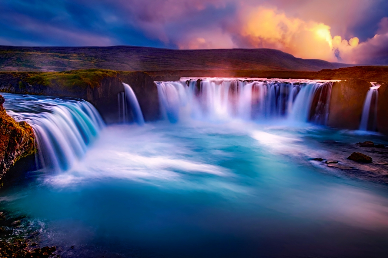 Sunset at Godafoss waterfall in Iceland