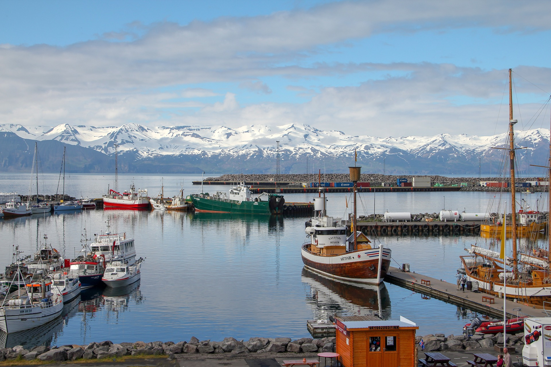 Husavik harbor, boat, water, docks