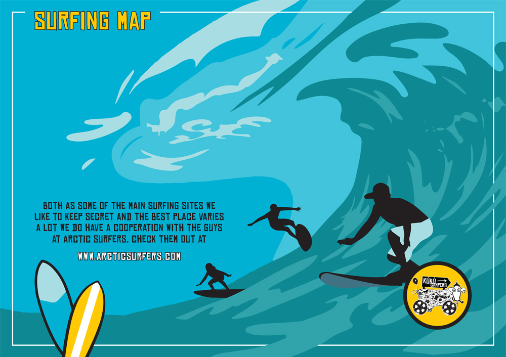 Surfing Map Iceland by Kuku Campers Rental Iceland