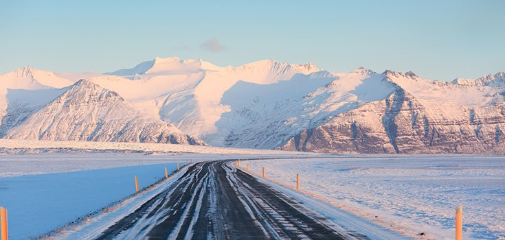 ring road in winter in iceland, snow, road, and mountains
