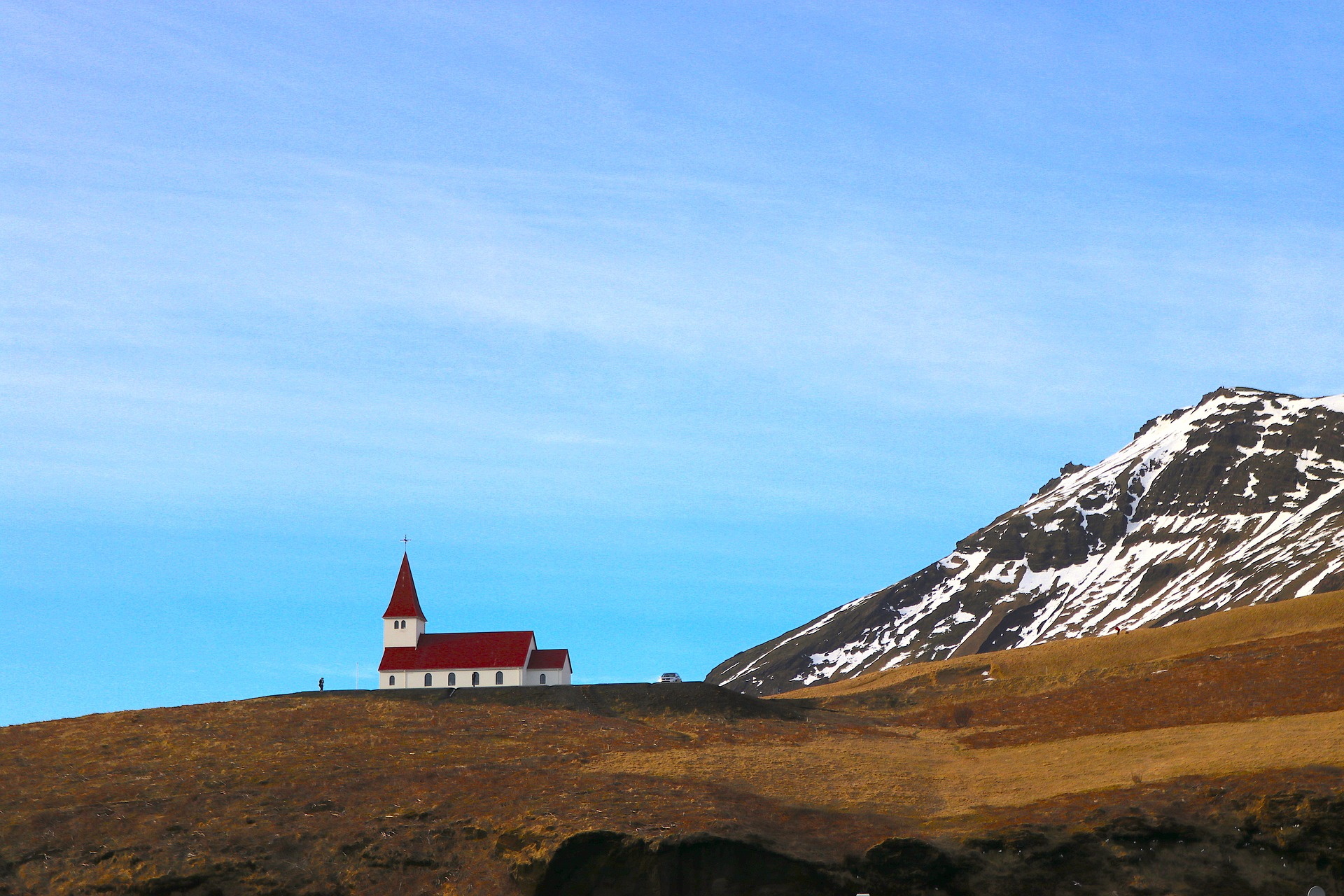 church of vik, red and white and blue sky