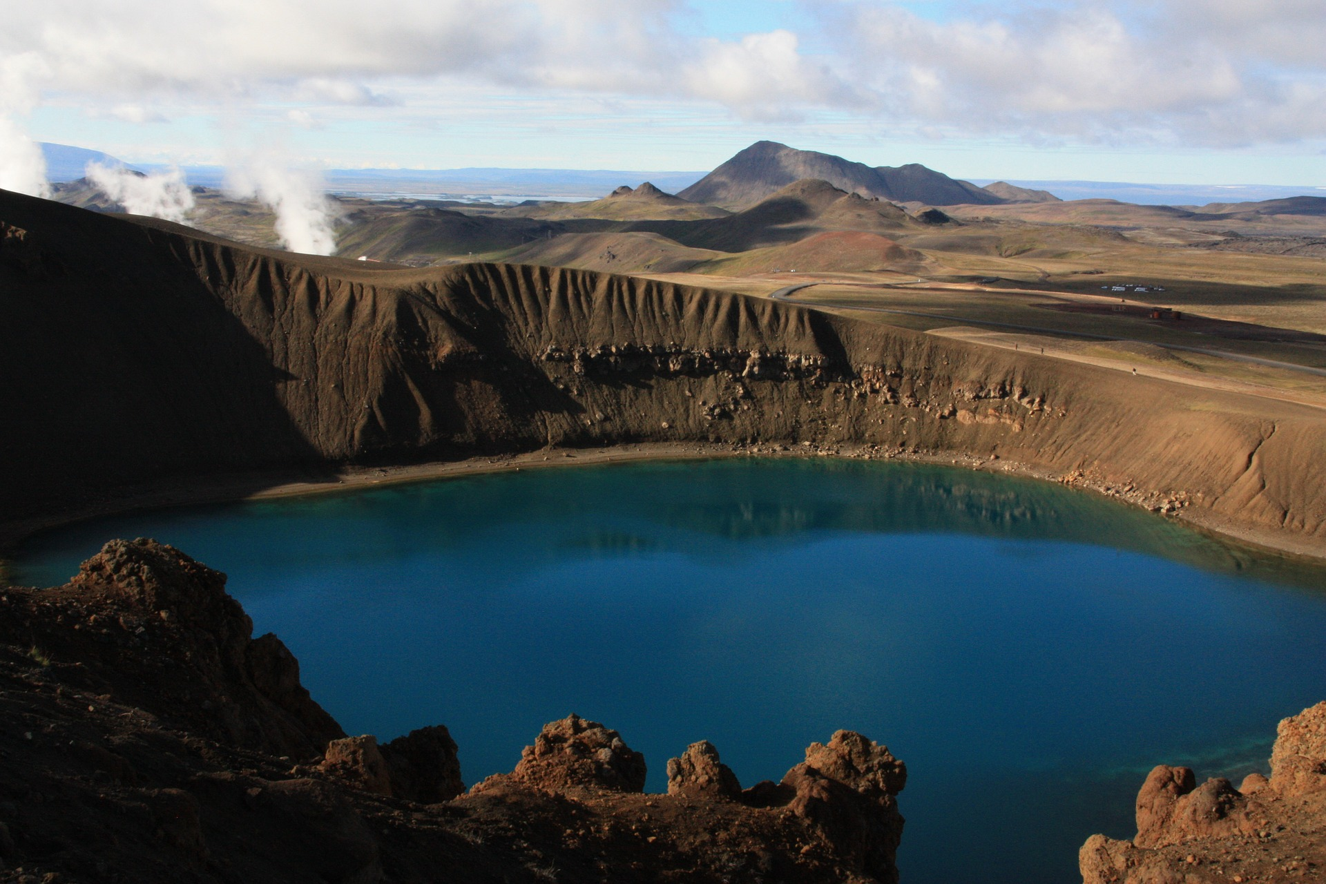 Krafla volcano crater lake in Iceland